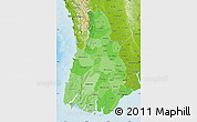 Political Shades Map of Irrawaddy, physical outside