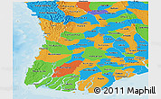 Political Panoramic Map of Irrawaddy