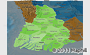 Political Shades Panoramic Map of Irrawaddy, darken