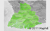 Political Shades Panoramic Map of Irrawaddy, desaturated