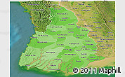 Political Shades Panoramic Map of Irrawaddy, satellite outside