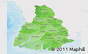 Political Shades Panoramic Map of Irrawaddy, single color outside