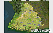 Satellite Panoramic Map of Irrawaddy, darken