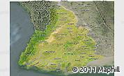 Satellite Panoramic Map of Irrawaddy, semi-desaturated
