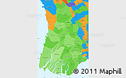 Political Shades Simple Map of Irrawaddy, political outside