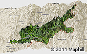 Satellite Panoramic Map of Chipwi, shaded relief outside