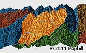 Political Panoramic Map of Hsawlaw, darken
