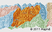 Political Panoramic Map of Hsawlaw, lighten