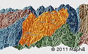 Political Panoramic Map of Hsawlaw, semi-desaturated