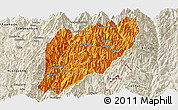 Political Panoramic Map of Hsawlaw, shaded relief outside