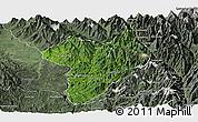 Satellite Panoramic Map of Machanbaw, semi-desaturated