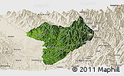 Satellite Panoramic Map of Machanbaw, shaded relief outside