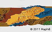 Political Panoramic Map of Mansi, darken