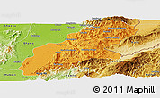 Political Panoramic Map of Mansi, physical outside