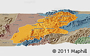 Political Panoramic Map of Mansi, semi-desaturated