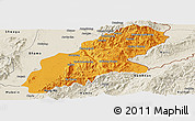 Political Panoramic Map of Mansi, shaded relief outside