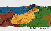 Political Panoramic Map of Mogaung, darken