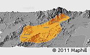 Political Panoramic Map of Mogaung, desaturated