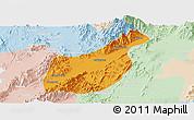 Political Panoramic Map of Mogaung, lighten