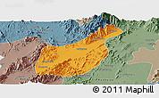 Political Panoramic Map of Mogaung, semi-desaturated