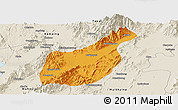 Political Panoramic Map of Mogaung, shaded relief outside
