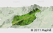 Satellite Panoramic Map of Mogaung, lighten