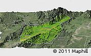 Satellite Panoramic Map of Mogaung, semi-desaturated