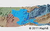 Political Panoramic Map of Momauk, semi-desaturated