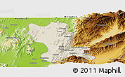 Shaded Relief Panoramic Map of Momauk, physical outside