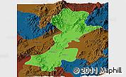 Political Panoramic Map of Myitkyina, darken