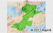 Political Panoramic Map of Myitkyina, lighten