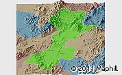 Political Panoramic Map of Myitkyina, semi-desaturated
