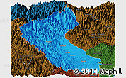 Political Panoramic Map of Putao, darken