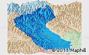 Political Panoramic Map of Putao, lighten
