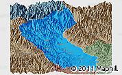 Political Panoramic Map of Putao, semi-desaturated