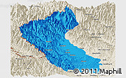 Political Panoramic Map of Putao, shaded relief outside
