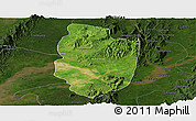 Satellite Panoramic Map of Shwegu, darken