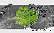Satellite Panoramic Map of Shwegu, desaturated