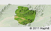 Satellite Panoramic Map of Shwegu, lighten