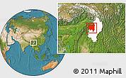 Satellite Location Map of Tanai, highlighted parent region
