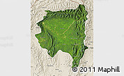 Satellite Map of Tanai, shaded relief outside