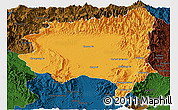 Political Panoramic Map of Tanai, darken