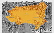 Political Panoramic Map of Tanai, desaturated