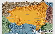 Political Panoramic Map of Tanai, semi-desaturated