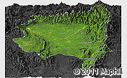 Satellite Panoramic Map of Tanai, darken, desaturated
