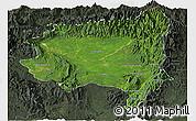 Satellite Panoramic Map of Tanai, darken, semi-desaturated