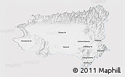 Silver Style Panoramic Map of Tanai, single color outside