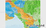 Political Shades Panoramic Map of Kawthulei (Karen)