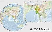 Physical Location Map of Burma, lighten