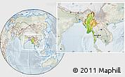 Physical Location Map of Burma, lighten, semi-desaturated
